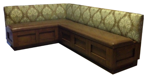Banquette. blue cream upholstered banquette bench. a bench ...